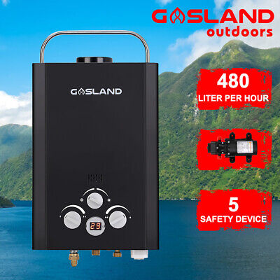 GASLAND Portable Gas Hot Water Heater Shower Outdoor Camping  RV 4WD Pump Black