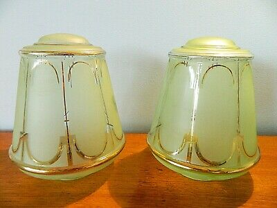 Lovely Pair of Large Art Deco Ceiling Shades Frosted Green Glass Gilt Trim