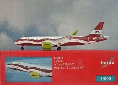 Herpa Wings 1:500  Airbus A220-300  Air Baltic  YL-CSL  533171  Modellairport500