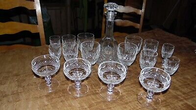 Lot of Vintage Waterford Ireland RARE crystal decanter and wine glass set