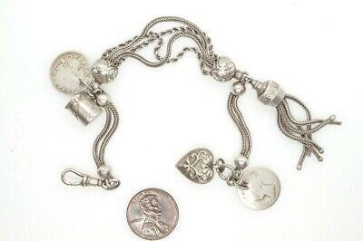 ANTIQUE SILVER ALBERTINA WATCH CHAIN BRACELET & HEART COIN etc CHARMS c1900