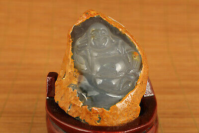Rare old jade agate hand carving Maitreya buddha statue include stand table deco
