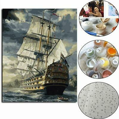 DIY Acrylic Paint By Number Kit Oil Painting Wall Decor On Canvas Boat 40*50CM
