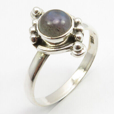 Sterling Silver Blue Labradorite Ancient Style Ring Size 6.75 Women Engagement