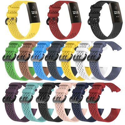 Silicone Watch Band Wristband Strap Breathable Replacement For Fitbit Charge 3 B