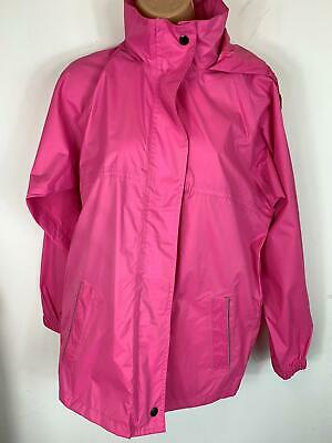 Girls Bright Pink Jacket Regatta Light Weight Zip Up Rain Coat Kids Age 13 Large