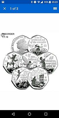 Peter Pan 50p full set, Isle of Man six coins, BU, Tinkerbell, preorder
