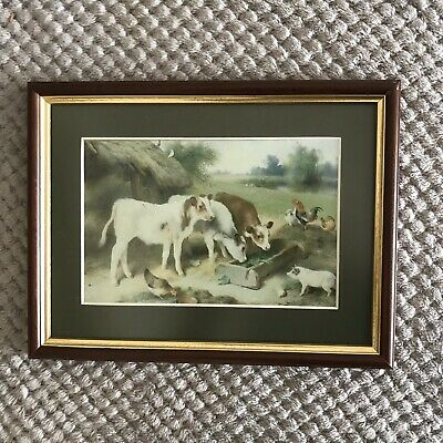 Vintage Dark Wood Frame With Picture Of Farmyard Animals/cow/chickens/pig