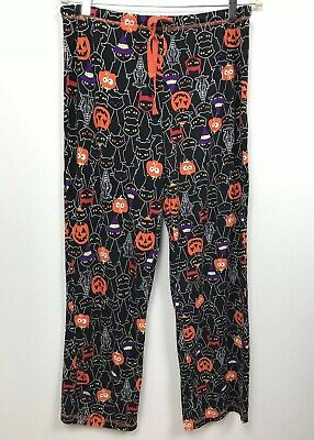 41df5bd19 Halloween Pajamas Sleep Lounge Pants Pumpkins Black Cats Size M Medium 8-10