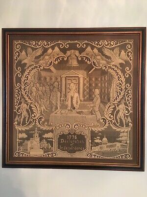 """Bicentennial Tapestry Of Signing Declaration of Independence 24""""x24"""""""