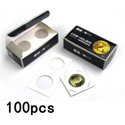 100x Cardboard Coin Protection Storage Display Holders Paper Clip 40MM White