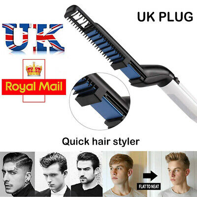 Men Man Quick Beard Straightener Multifunctional Hair Comb Curling Curler Salon.