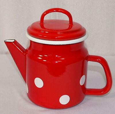 G1596: Enamel Tea Pot, Cover Pot, Tea Pot Dots Red White 1,0 Litre