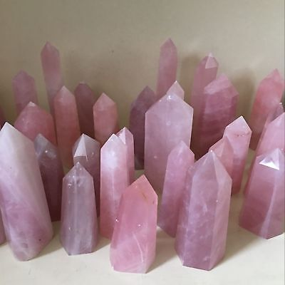 5Pcs/Lot 40-50MM Natural  Pink Rose Quartz Crystal Point Rock Stone Wand Healing
