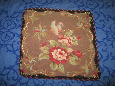 Beautiful Antique Floral Needlepoint Tapestry Pillow French Petite Point-Birds