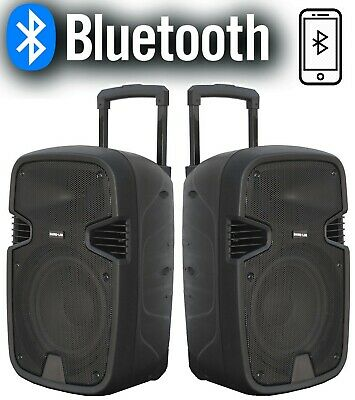 "✌ COPPIA CASSE AMPLIFICATE ATTIVE 900W 10"" BLUETOOTH RADIO USB TROLLEY karaoke"
