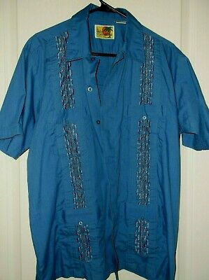 1473d77a The Genuine Haband Guayabera Mens Large Embroidered button up Blue Shirt