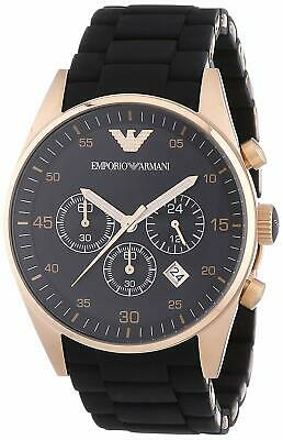 New Emporio Armani AR5905 Mens Black Silicone Rubber Rose Gold Chronoraph Watch