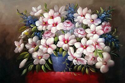 Vase Flower 24x36 in. stretched Oil Painting Canvas Art Wall Decor modern517