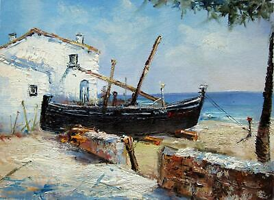 Boat 12x16 in. stretched Oil Painting Canvas Art Wall Decor modern011
