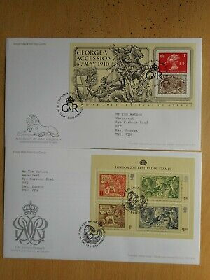 GB 2010 The Kings stamps MS3065 and MS3072 on two First Day Covers