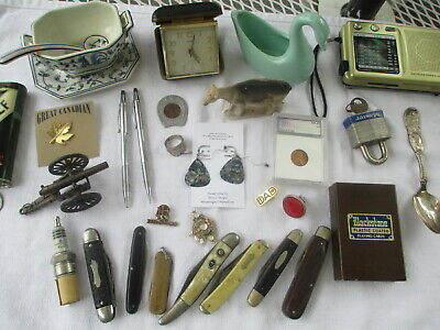 Vintage Junk Drawer Estate Lot Coins Pens Knives Jewelry Locks Toy Cannon MORE
