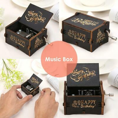 Retro Vintage Wooden Hand Cranked Music Box Home Crafts Ornaments Decor Gifts