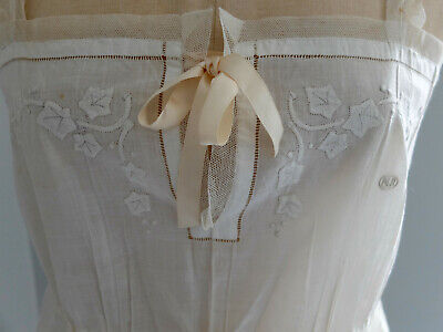 Antique 1920s embroidered cotton slip / nightdress + French knickers / tap pants