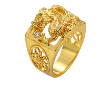 Gold-Plated Gold Gold Ring Domineering Dragon Pattern Ring Man classic
