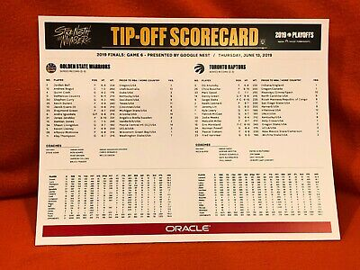 Scorecard Golden State Warriors NBA Finals Last Game at Oracle 6/13/19 Brand New