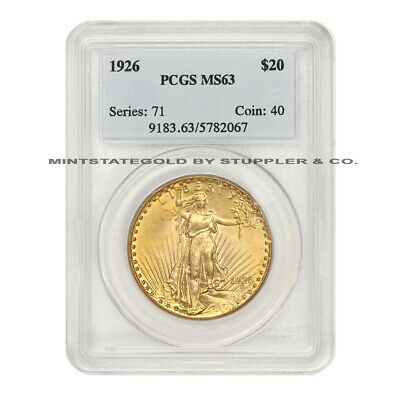 1926 $20 Saint Gaudens PCGS MS63 choice graded Philadelphia Gold Double Eagle