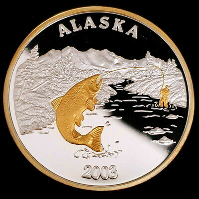 2003 Alaska Mint Seal of the State Fish Gilded 1oz Silver Collector Round ©AMS14