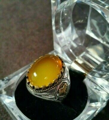 Wonderful Yemeni Honey Agate Silver Men Ring, hakik, aqeeq, aqiq خاتم عقيق رائع