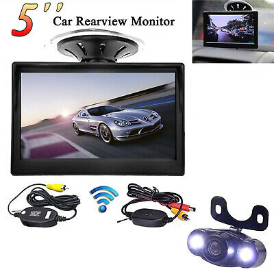 "Wireless 5"" Car Vehicle Suction Monitor+Mini Waterproof Reversing Parking Camera"