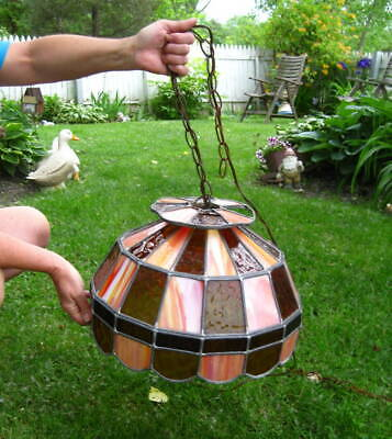 Retro Vintage / Antique Orange Stained Leaded Glass Swag Lamp