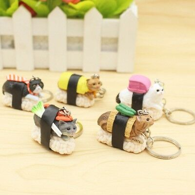 Sushi Cat Pendant Keychain Keyrings Women Girl'ss For Handbag Fswt
