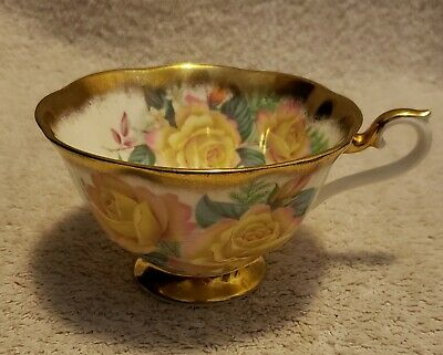 Royal Albert Portrait Series Pink Floral Roses & Gold Cup - England