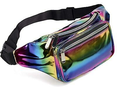 Rainbow Fanny Pack for Women Girls 80s Holographic Rave Festival Party Waist ...