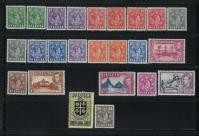 St Lucia Scott #110-126 George Vi Complete Set+Perf Variations (27 Stamps) Mh