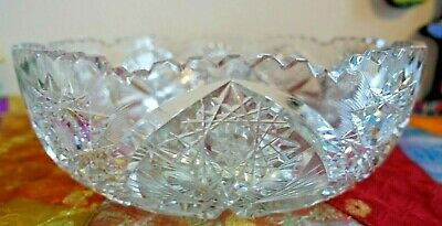 Vintage/Antique Heavy  Lead Crystal Cut Glass Bowl ~ Saw Tooth Edge