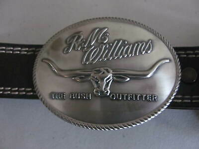 **R.M WILLIAMS**BELT sz 32/81 BROWN COWHIDE large buckle NEW WITH TAGS