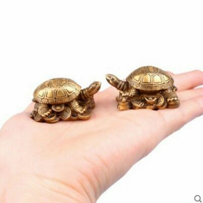 A Pair of Brass Turtle Chinese Fengshui Mini Animal Ornament Statue Wealth Lucky