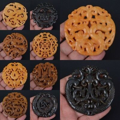 58-72mm Carved old jade different shape pendant bead *each one pictured*