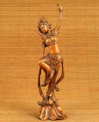 Chinese old boxwood hand carving dance skirt girl statue figue netsuke ornament