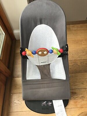Baby Bjorn Bouncer Balance Soft Black/Grey With Wooden Toy