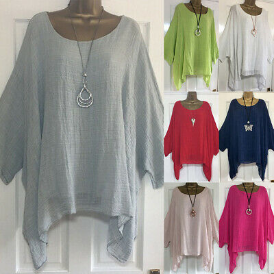 UK Plus Size Womens Batwing Sleeve T Shirt Ladies Casual Loose Baggy Tops Blouse