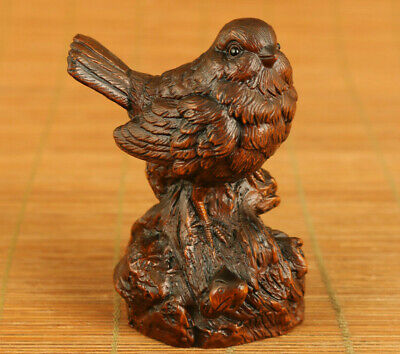 Chinese Rare old boxwood hand carved birdie statue table home decoration gift