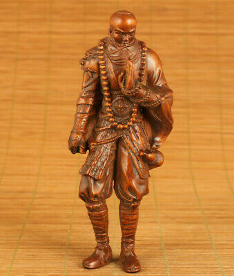 Rare Asian old boxwood Bodhidharma statue figue netsuke home decoration gift