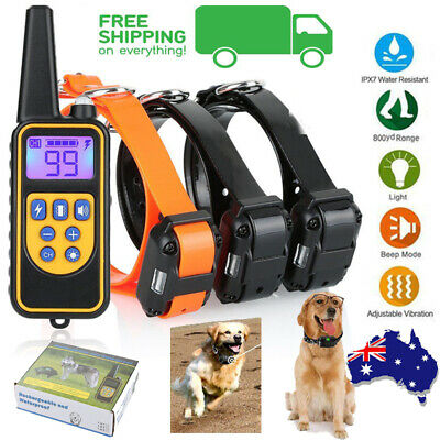 Electric Remote Dog Training Collar 3 Receiver Anti Bark 800m Range Auto Mode