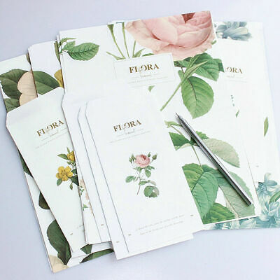 12X Envelopes 24X Writing Letter Papers Floral Flower Vintage Stationery Set New